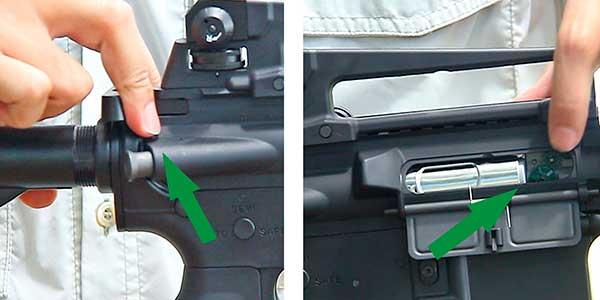 arma de airsoft acesso ao hopup