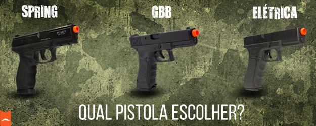 Spring, GBB ou Elétrica: Qual pistola escolher?